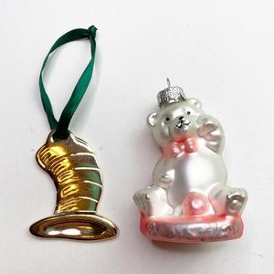 Dr. Seuss & Bear Ornament Bundle Silver Pink Kids